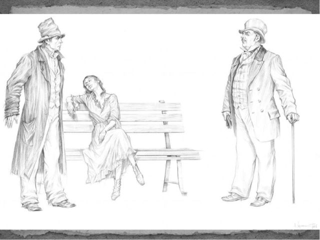 Проходя по бульвару, Раскольников видит пьяную молоденькую девушку, защищает...