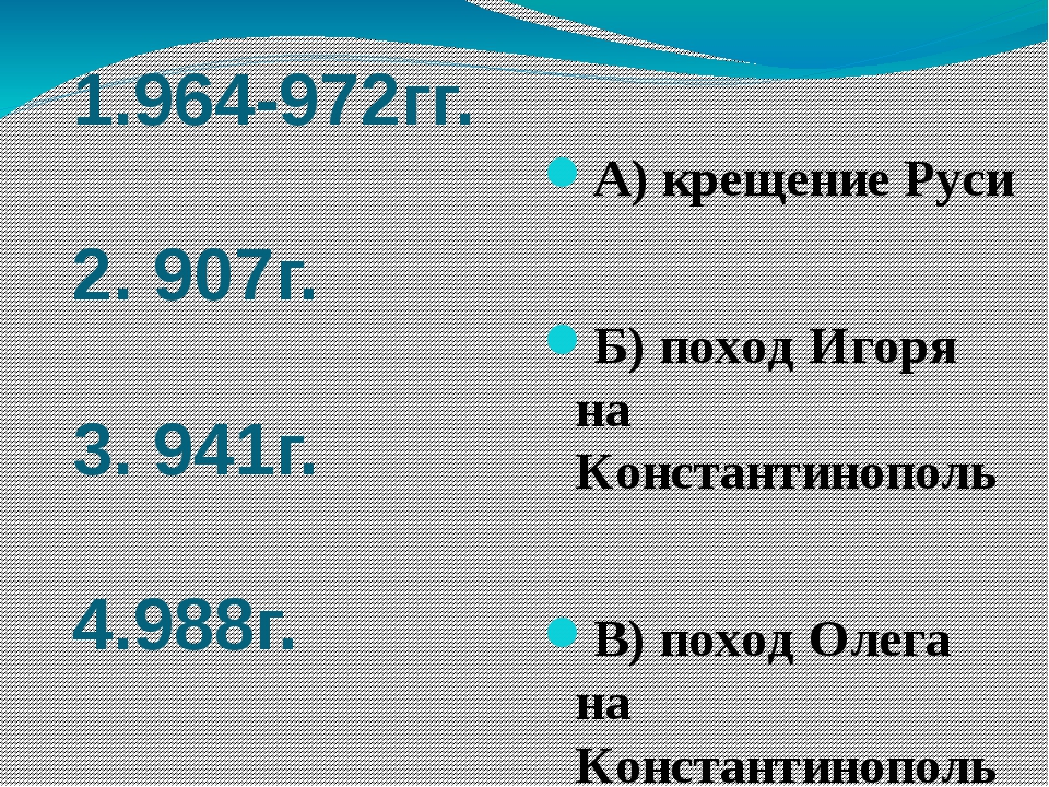 1.964-972гг. 2. 907г. 3. 941г. 4.988г. А) крещение Руси Б) поход Игоря на Кон...
