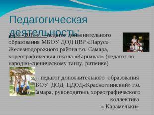 Педагогическая деятельность: 2005 -2013 г. – педагог дополнительного образова