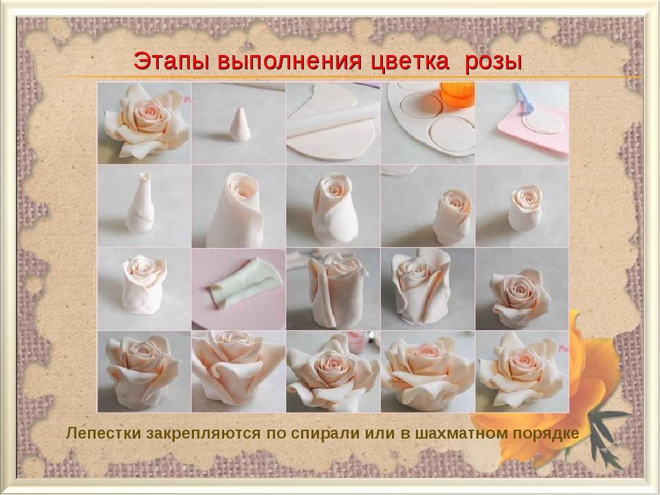 Этапы выполнения цветка розы Лепестки закрепляются по спирали или в шахматном...