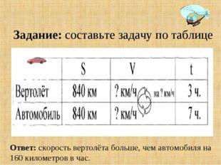 Задание: составьте задачу по таблице Ответ: скорость вертолёта больше, чем ав