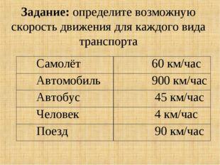 Задание: определите возможную скорость движения для каждого вида транспорта С