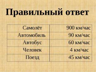 Правильный ответ Самолёт 900 км/час Автомобиль  90 км/час Автобус 60 км/ча
