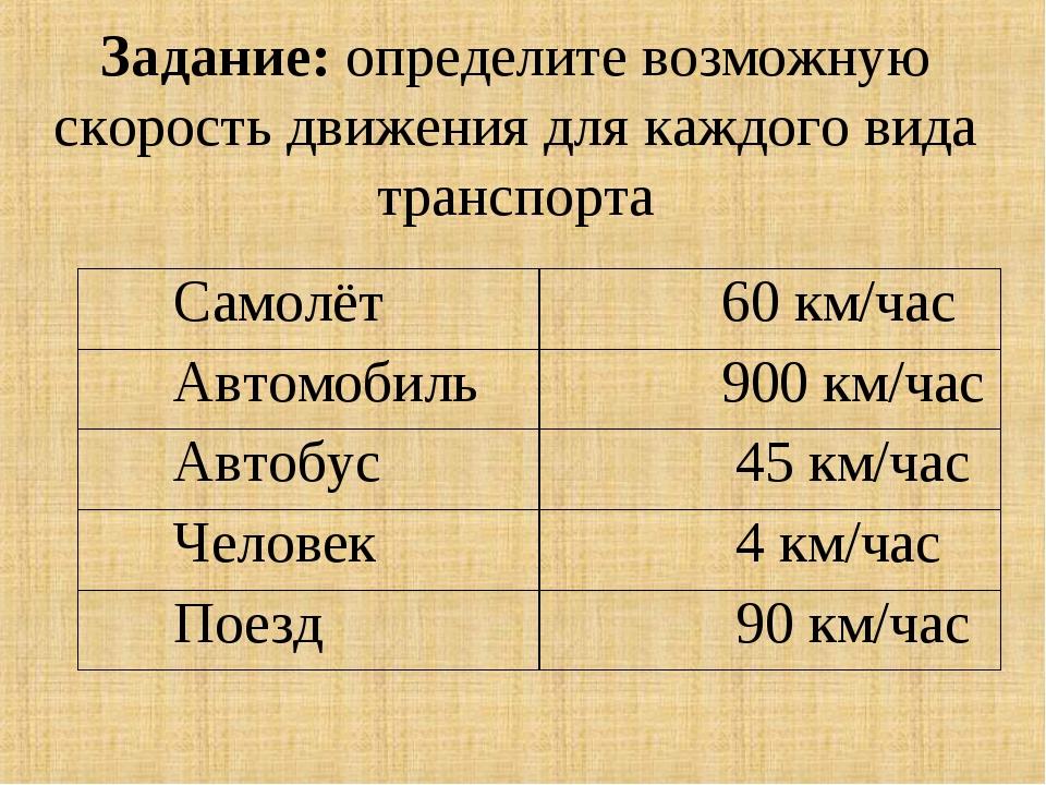 Задание: определите возможную скорость движения для каждого вида транспорта С...