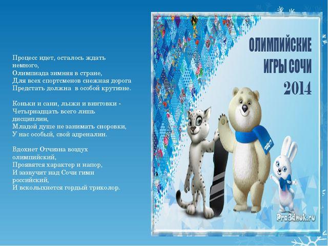 Процесс идет, осталось ждать немного, Олимпиада зимняя в стране, Для всех спо...