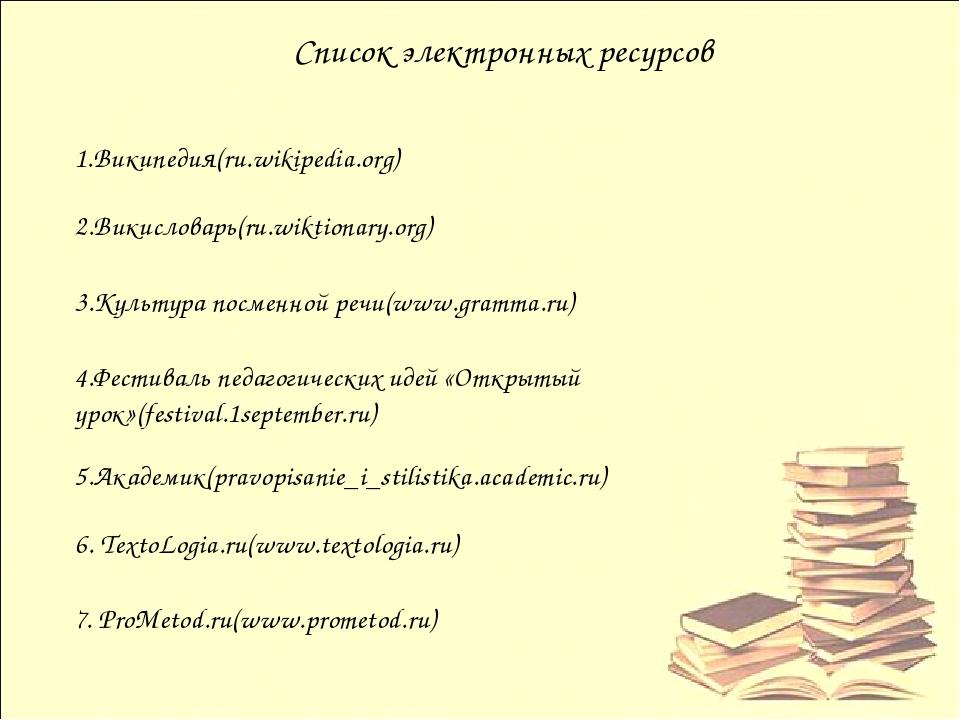 Список электронных ресурсов 2.Викисловарь(ru.wiktionary.org) 1.Википедия(ru....