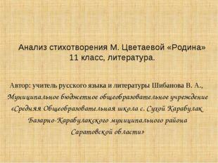 Автор: учитель русского языка и литературы Шибанова В. А., Муниципальное бюдж