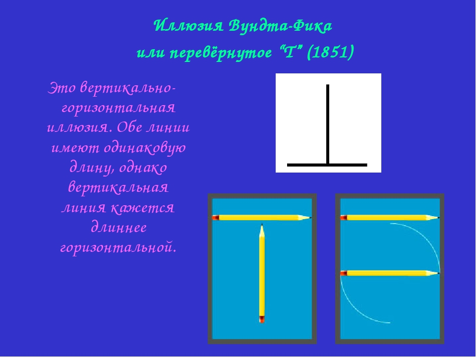 Это вертикально-горизонтальная иллюзия. Обе линии имеют одинаковую длину, од...