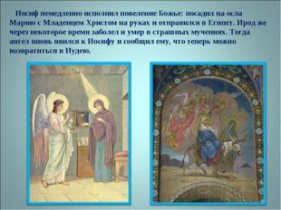 Иосиф немедленно исполнил повеление Божье: посадил на осла Марию с Младенцем
