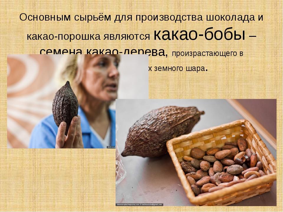 Основным сырьём для производства шоколада и какао-порошка являются какао-бобы...