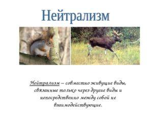 Нейтрализм – совместно живущие виды, связанные только через другие виды и неп