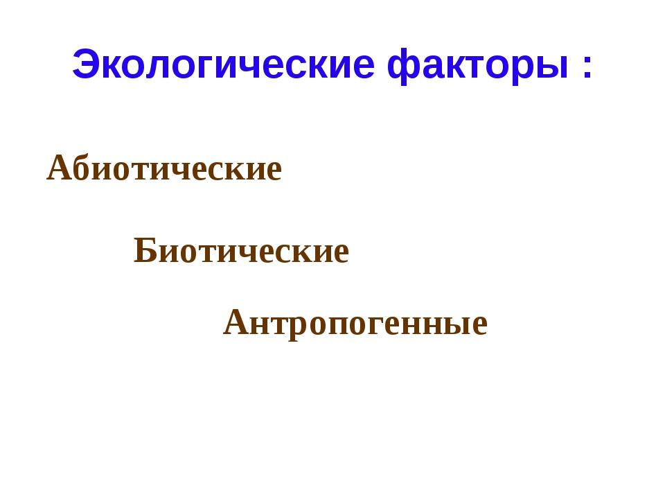 Экологические факторы : Абиотические Биотические Антропогенные