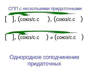 СПП с несколькими придаточными [ ], (союз/с.с ), (союз/с.с ) [ ], (союз/с.с )