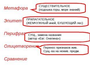 Метафора Эпитет Перифраз Олицетворение Сравнение СУЩЕСТВИТЕЛЬНОЕ (подошва гор