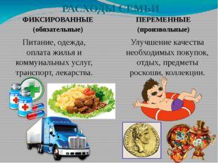 РАСХОДЫ СЕМЬИ ФИКСИРОВАННЫЕ (обязательные) ПЕРЕМЕННЫЕ (произвольные) Питание