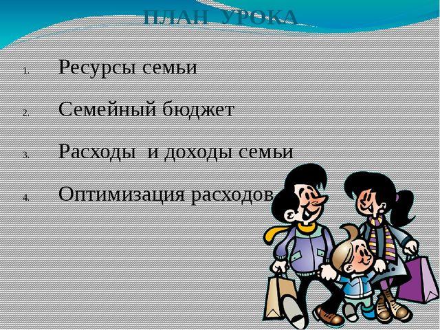 ПЛАН УРОКА Ресурсы семьи Семейный бюджет Расходы и доходы семьи Оптимизация р...