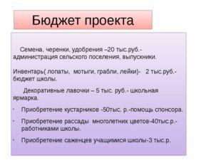 Бюджет проекта Семена, черенки, удобрения –20 тыс.руб.- администрация сельско