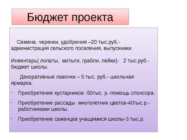 Бюджет проекта Семена, черенки, удобрения –20 тыс.руб.- администрация сельско...