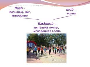 flash - вспышка, миг, мгновение mob - толпа flashmob - вспышка толпы, мгновен