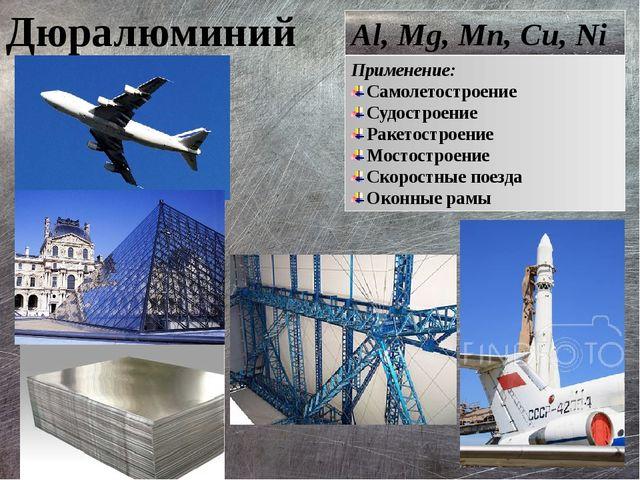 Дюралюминий Al, Mg, Mn, Cu, Ni Применение: Самолетостроение Судостроение Раке...