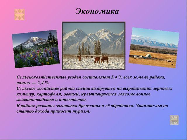 Экономика Сельскохозяйственные угодья составляют 5,4% всех земель района, па...