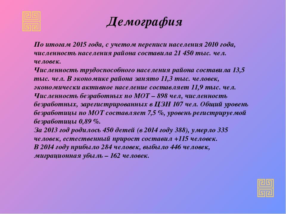 Демография По итогам 2015 года, с учетом переписи населения 2010 года, числен...