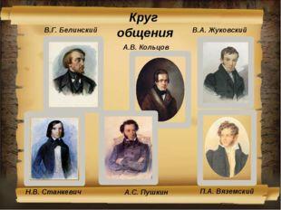 Круг общения В.А. Жуковский В.Г. Белинский А.В. Кольцов Н.В. Станкевич П.А. В