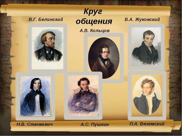 Круг общения В.А. Жуковский В.Г. Белинский А.В. Кольцов Н.В. Станкевич П.А. В...