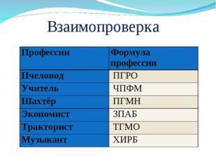 Взаимопроверка ПрофессииФормула профессии ПчеловодПГРО УчительЧПФМ Шахтё