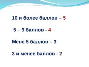 10 и более баллов – 5 5 – 9 баллов - 4 Мене 5 баллов – 3 3 и менее баллов - 2