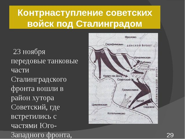 Контрнаступление советских войск под Сталинградом 23 ноября передовые танковы...
