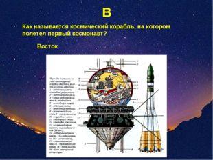 В Как называется космический корабль, на котором полетел первый космонавт? Во