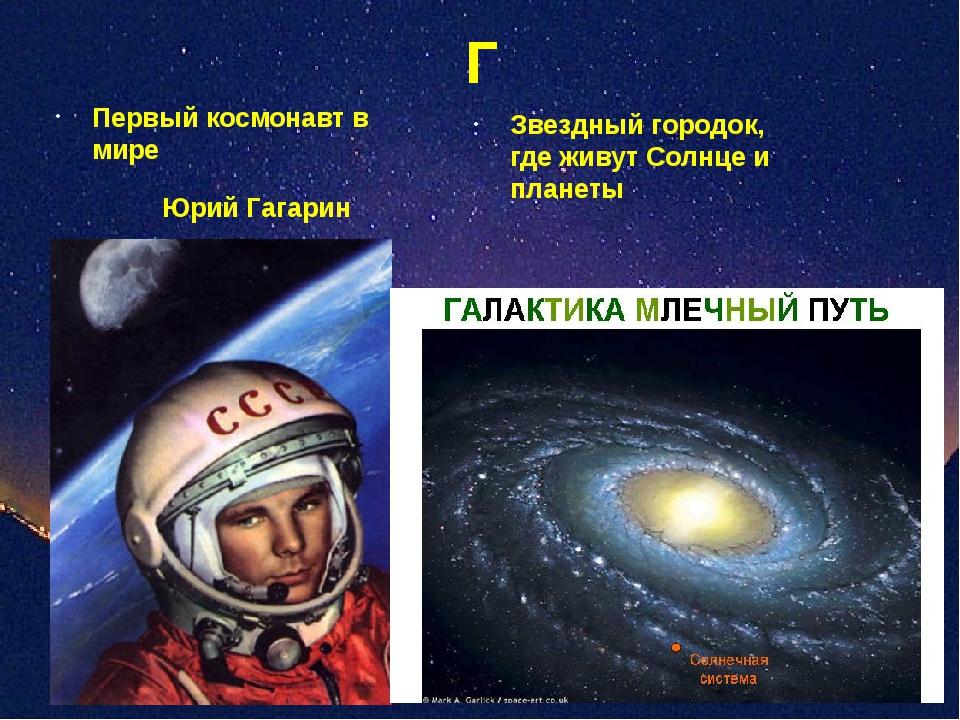 Г Звездный городок, где живут Солнце и планеты Первый космонавт в мире Юрий Г...