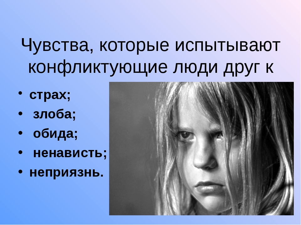 Чувства, которые испытывают конфликтующие люди друг к другу: страх; злоба; о...