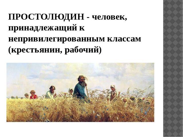 ПРОСТОЛЮДИН - человек, принадлежащий к непривилегированным классам (крестьяни...
