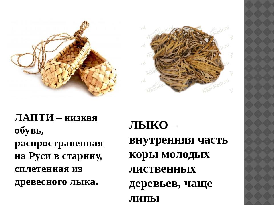 ЛЫКО – внутренняя часть коры молодых лиственных деревьев, чаще липы ЛАПТИ – н...