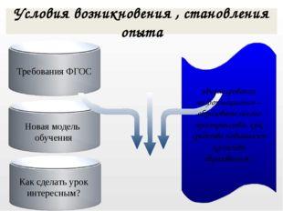 Требования ФГОС Условия возникновения , становления опыта «Формирование инфо