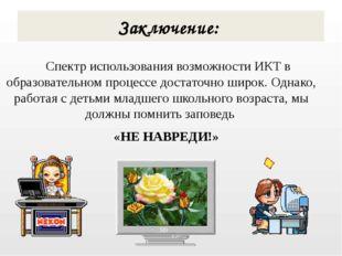 Спектр использования возможности ИКТ в образовательном процессе достаточно ш