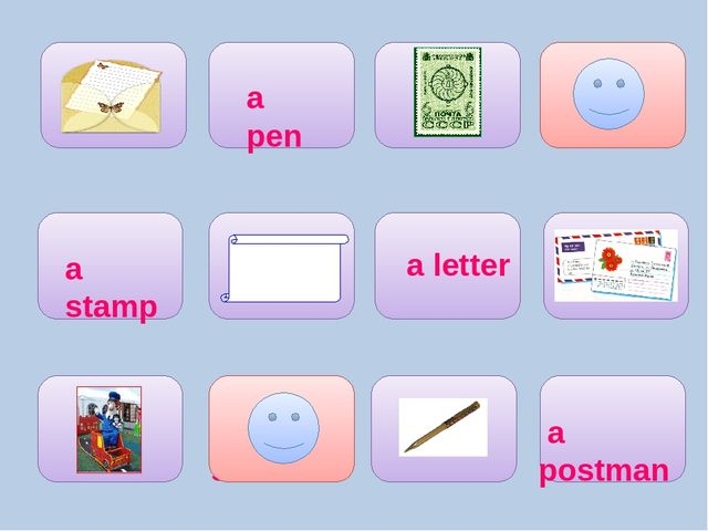 envelopes paper a postman a letter a stamp a pen