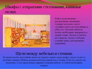 Шкафы с открытыми стеллажами, книжные полки. Книги, всевозможные декоративные