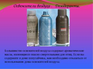 Освежители воздуха . Дезодоранты. Большинство освежителей воздуха содержат ар