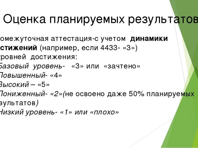 Оценка планируемых результатов Промежуточная аттестация-с учетом динамики дос...