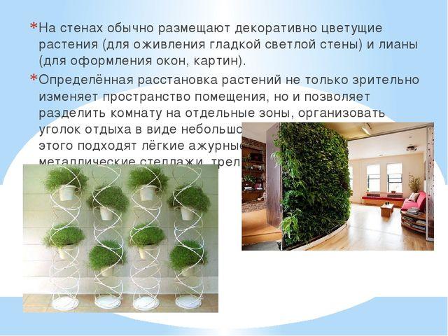 На стенах обычно размещают декоративно цветущие растения (для оживления гладк...