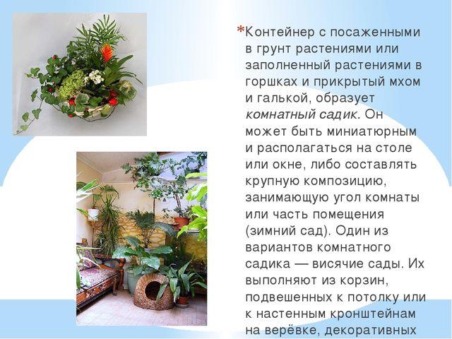 Контейнер с посаженными в грунт растениями или заполненный растениями в горшк...