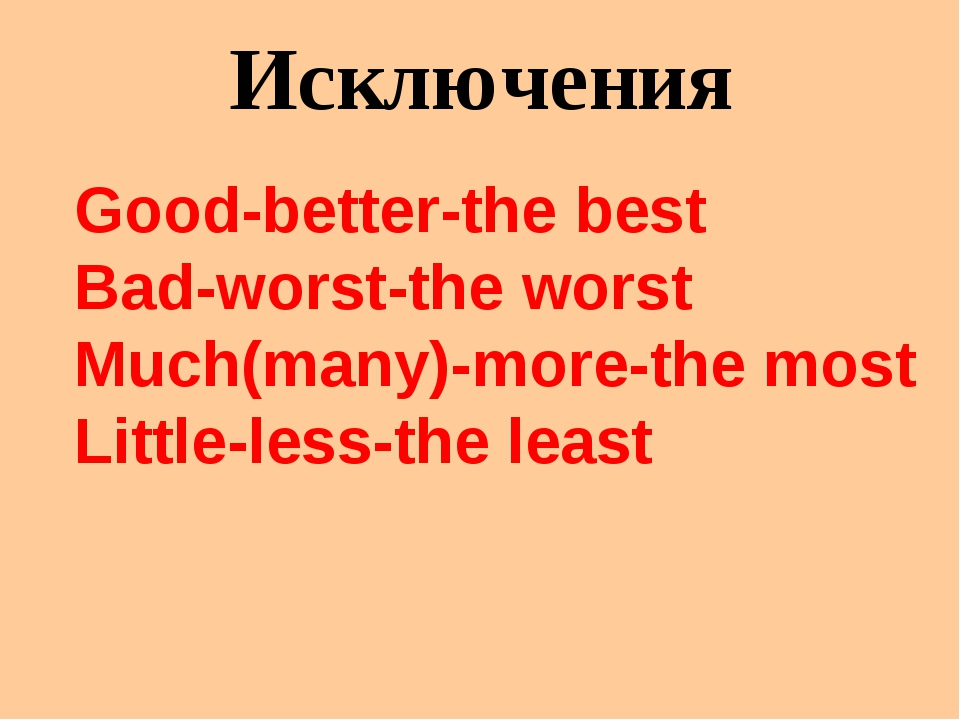 Исключения Good-better-the best Bad-worst-the worst Much(many)-more-the most...
