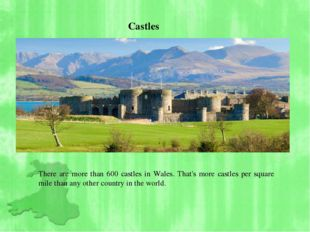 There are more than 600 castles in Wales. That's more castles per square mil