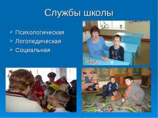 Службы школы Психологическая Логопедическая Социальная