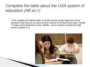 Complete the table about the USA system of education.(AB ex.1) Thus, students