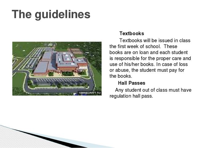 Textbooks Textbooks will be issued in class the first week of school. These...