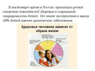 В настоящее время в России произошло резкое снижение показателей здоровья